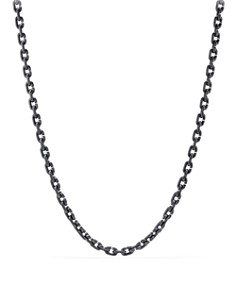 David Yurman - Chain Link Narrow Necklace with Black Titanium, 26""