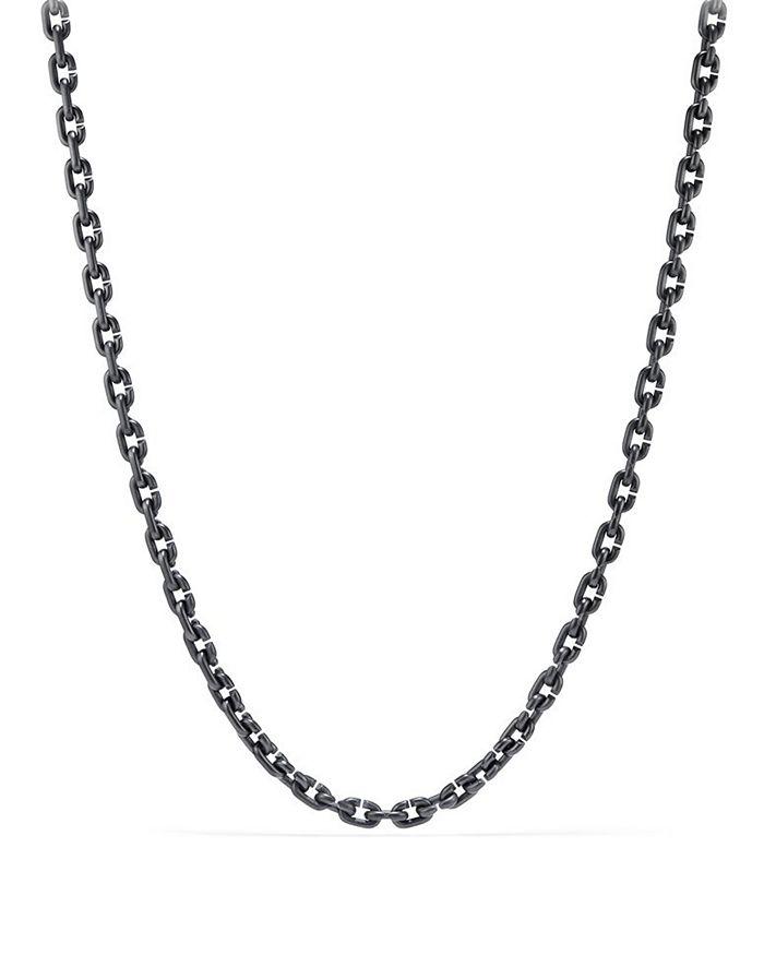 "David Yurman - Chain Link Narrow Necklace with Black Titanium, 26"""