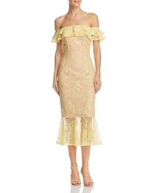 JARLO Toril Off-The-Shoulder Lace Dress in Yellow