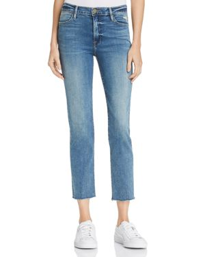 Frame Le High Raw Edge Straight Jeans in Roxton