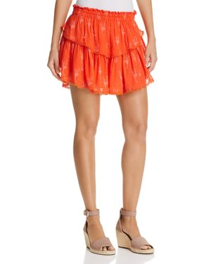 KARINA GRIMALDI HABI TIERED PRINTED MINI SKIRT