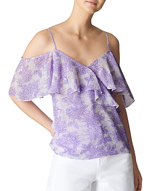 Whistles Batik Lily Cold-Shoulder Top