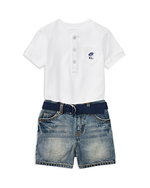 Ralph Lauren Boys Henley Tee Belt  Denim Shorts Set  Baby