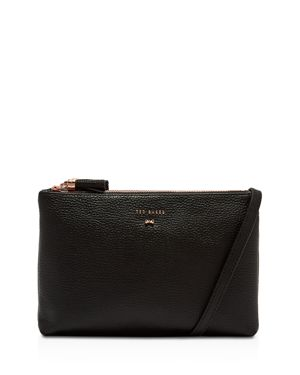 SUZETTE LEATHER DOUBLE ZIPPED LEATHER CROSSBODY