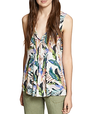 Sanctuary Pleated Tropical-Print Top