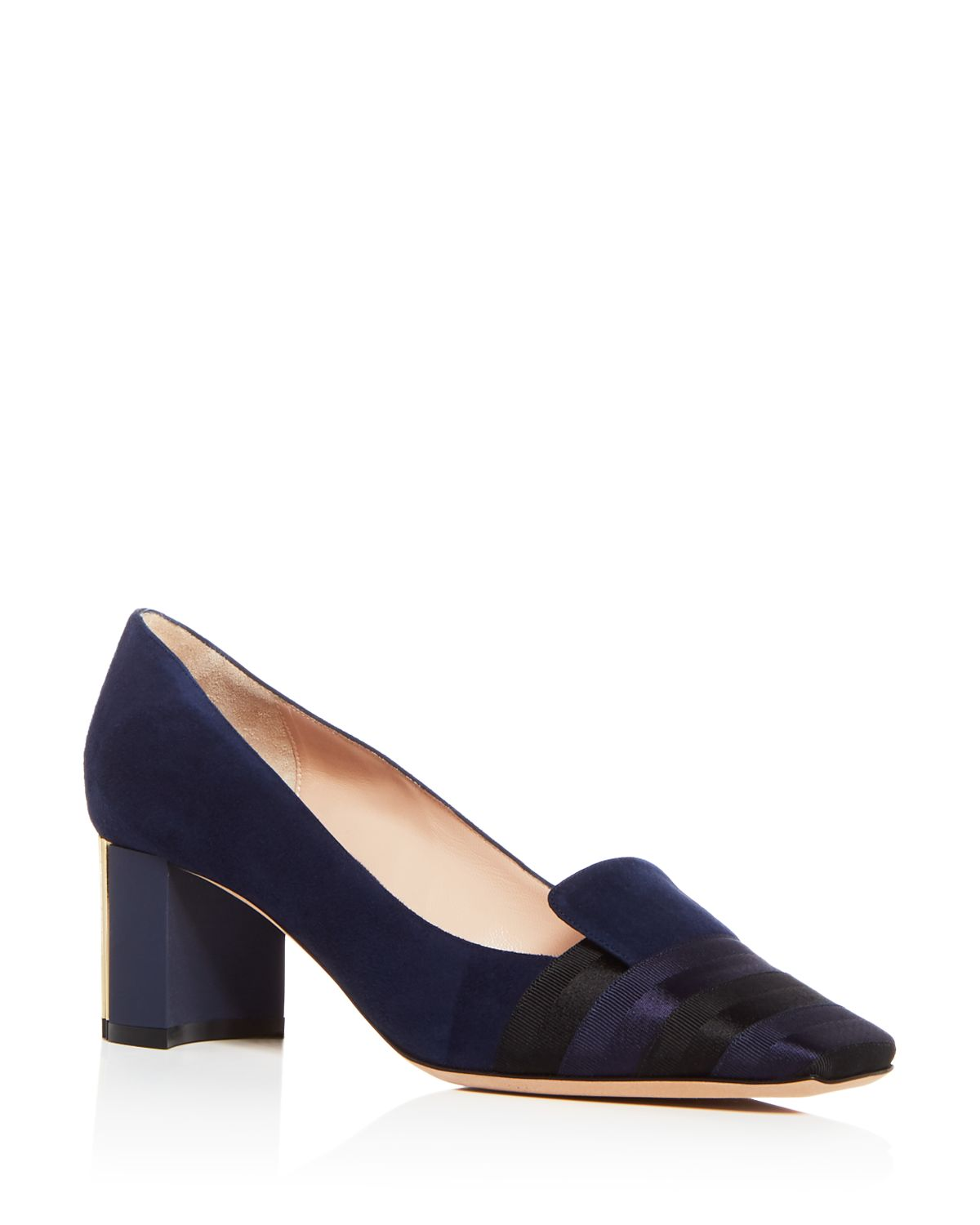 Armani Women's Decollete Suede & Satin Striped Block Heel Pumps