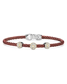 ALOR Three-Station Burgundy Cable Bangle Bracelet With Diamonds - Bloomingdale's_0