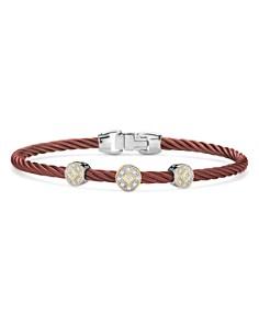 ALOR - Three-Station Burgundy Cable Bangle Bracelet With Diamonds