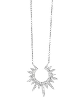Bloomingdale's - Diamond Sunburst Pendant Necklace in 14K White Gold, 0.35 ct. t.w. - 100% Exclusive