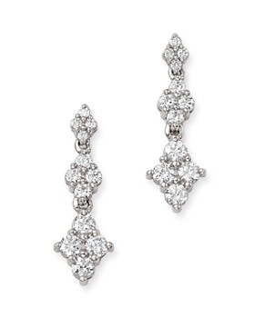 Bloomingdale's - Diamond Graduated Cluster Drop Earrings in 14K White Gold, 1.0 ct. t.w. - 100% Exclusive