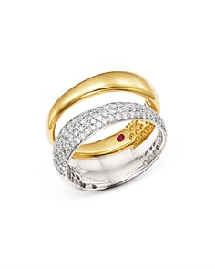 Roberto Coin - 18K White & Yellow Gold Scalare Pavé Diamond Double Ring