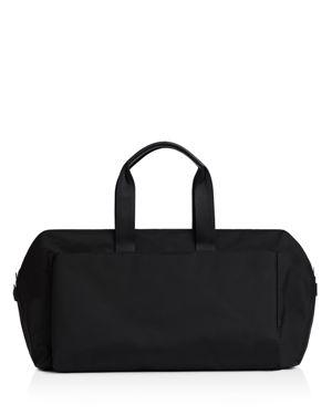 TROUBADOUR Lightweight Duffel Bag - Black in Black Nylon/ Black Leather