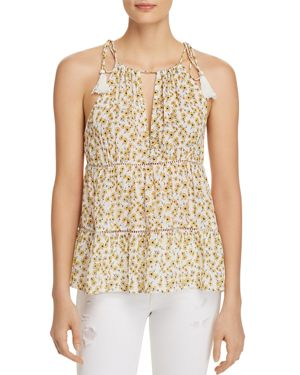 LOST AND WANDER Lost + Wander Sleeveless Floral-Print Prairie Top in Yellow Multi