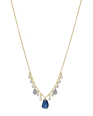 Meira T 14K White & Yellow Gold Sapphire, Cultured Freshwater Pearl & Diamond Dangle Necklace, 16