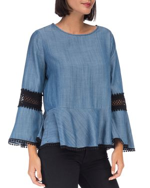 B COLLECTION BY BOBEAU Aine Lace-Trim Bell-Sleeve Chambray Peplum Top in Blue