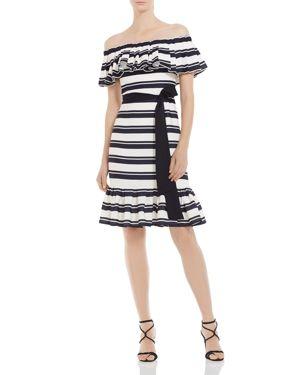 Halston Heritage Striped Off-the-Shoulder Dress 2941519