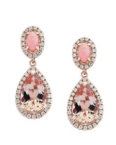 Bloomingdale's - Morganite & Diamond Teardrop Earrings in 14K Rose Gold - 100% Exclusive