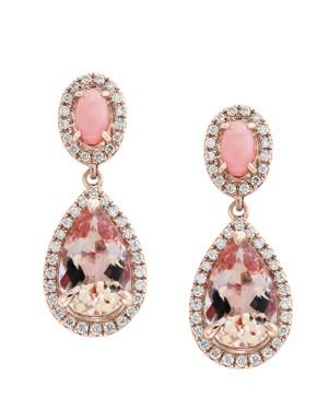 Bloomingdale's Morganite & Diamond Teardrop Earrings in 14K Rose Gold - 100% Exclusive