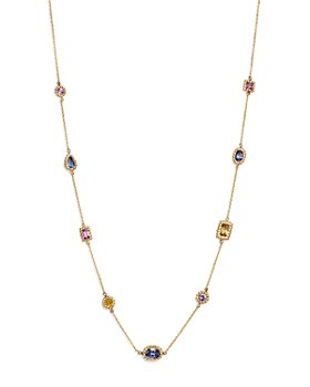 """Bloomingdale's - Multicolor Sapphire Beaded Station Necklace in 14K Yellow Gold, 16.75"""" - 100% Exclusive"""
