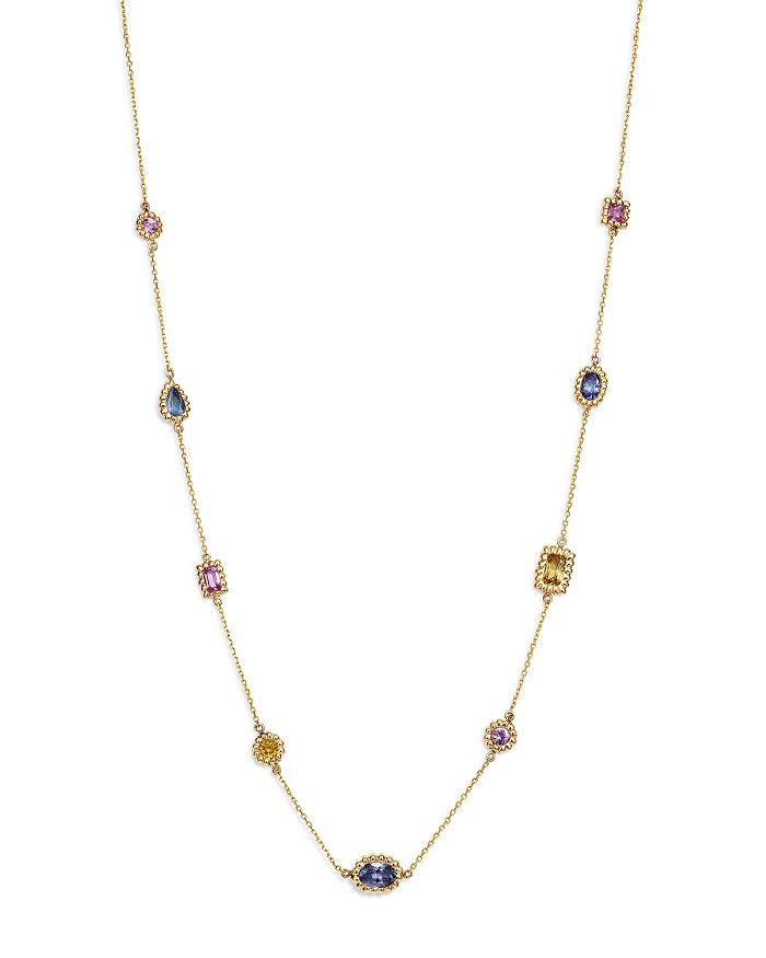 "Bloomingdale's - Multicolor Sapphire Beaded Station Necklace in 14K Yellow Gold, 16.75"" - 100% Exclusive"
