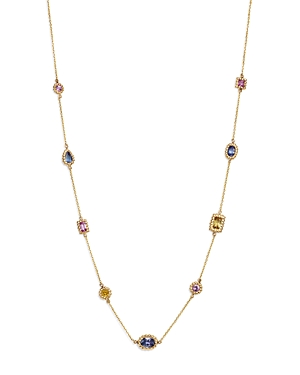 Multicolor Sapphire Beaded Station Necklace in 14K Yellow Gold