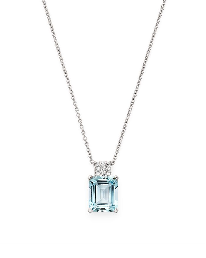 "Bloomingdale's - Aquamarine & Diamond Pendant Necklace in 14K White Gold, 16"" - 100% Exclusive"