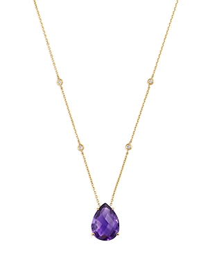 Bloomingdale's Amethyst Teardrop & Diamond Station Necklace in 14K Yellow Gold, 17 - 100% Exclusive