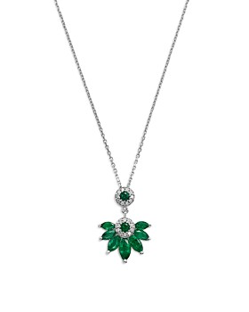 Bloomingdale's - Emerald & Diamond Marquis Pendant Necklace in 14K White Gold - 100% Exclusive
