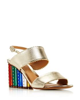 614dc93e9a8c Salvatore Ferragamo - Women s Gavi Leather Rainbow Floral Wedge Slingback  Sandals ...