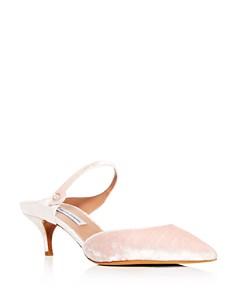 Tabitha Simmons - Women's Liberty Velvet Pointed Toe Kitten Heel Mules