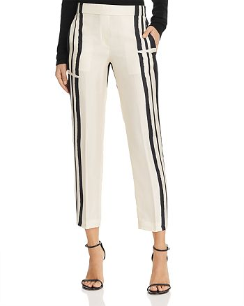 Theory - Silk Stripe Straight Ankle Pants