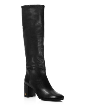 Brooke Slouchy Leather Block-Heel Knee Boots, Perfect Black