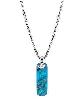 JOHN HARDY - Sterling Silver Classic Chain Chrysocolla Bar Pendant Necklace, 26""
