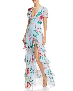 FAME AND PARTNERS PEARL FAUX-WRAP FLORAL GOWN