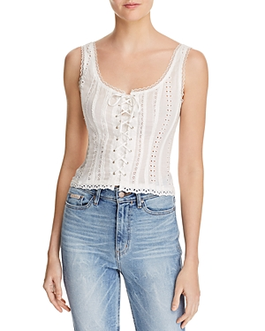 Astr the Label Macie Lace-Up Eyelet Top