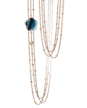 PASQUALE BRUNI 18K Rose Gold Bon Ton London Blue Topaz & Diamond Necklace, 26 in Blue/Rose Gold