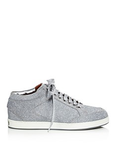 Jimmy Choo - Women's Miami Glitter Leather Low Top Lace Up Sneakers