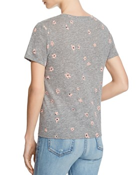 Sundry - Daisy Print Tie-Front Tee - 100% Exclusive