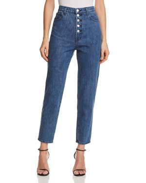 Heather Button-Fly Straight Jeans In Electrify