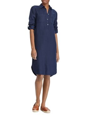 LAUREN RALPH LAUREN LINEN SHIRT DRESS
