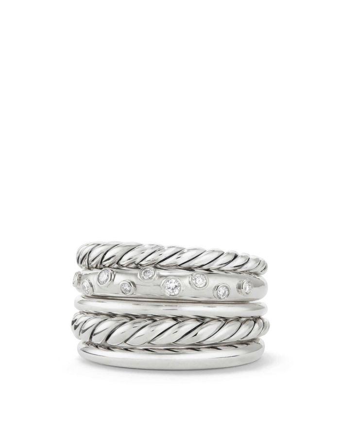 David Yurman Pure Form Wide Ring with Diamonds    Bloomingdale's