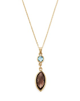 """Bloomingdale's - Smoky Quartz & Blue Topaz Pendant Necklace in 14K Yellow Gold, 18"""" - 100% Exclusive"""
