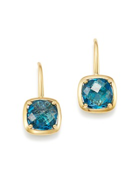 Bloomingdale's - Blue Topaz Square Drop Earrings in 14K Yellow Gold - 100% Exclusive