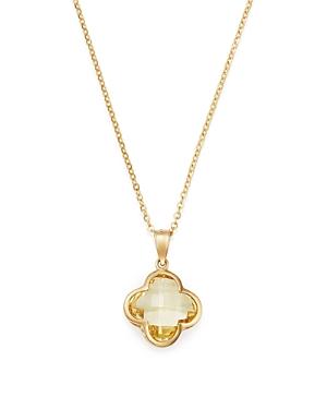 Bloomingdale's Lemon Quartz Clover Pendant Necklace in 14K Yellow Gold, 18 - 100% Exclusive