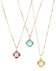 Bloomingdale's Gemstone Clover Pendant Necklace in 14K Yellow Gold - 100% Exclusive _0