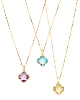 Bloomingdale's - Gemstone Clover Pendant Necklace in 14K Yellow Gold - 100% Exclusive