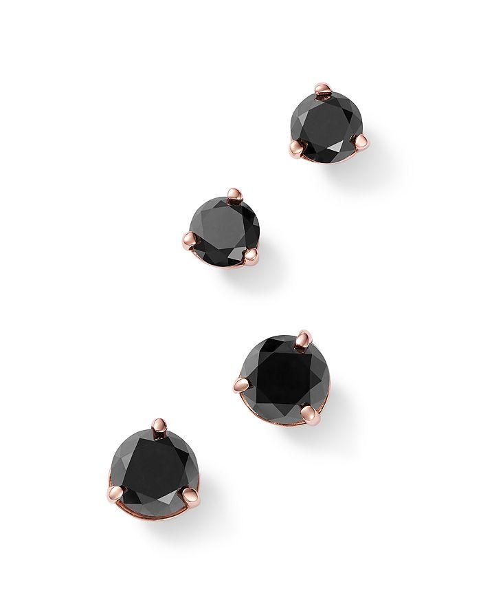 Bloomingdale's - Black Diamond Stud Earrings in 14K Rose Gold, 0.50 - 1.0 ct. t.w. - 100% Exclusive