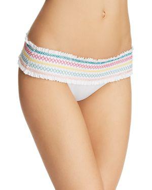 ISABELLA ROSE Crystal Cove Smocked Bikini Bottoms in White