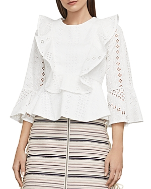 Bcbgmaxazria Kailey Ruffled Eyelet Top