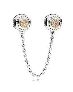 PANDORA - Sterling Silver, 14K Gold & Cubic Zirconia Signature Safety Chain